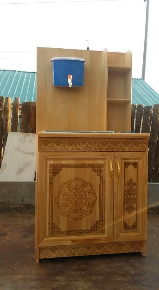 Лазер сийлбэртэй гэрийн цэвэр модон тавилга ( Угаалтуур)